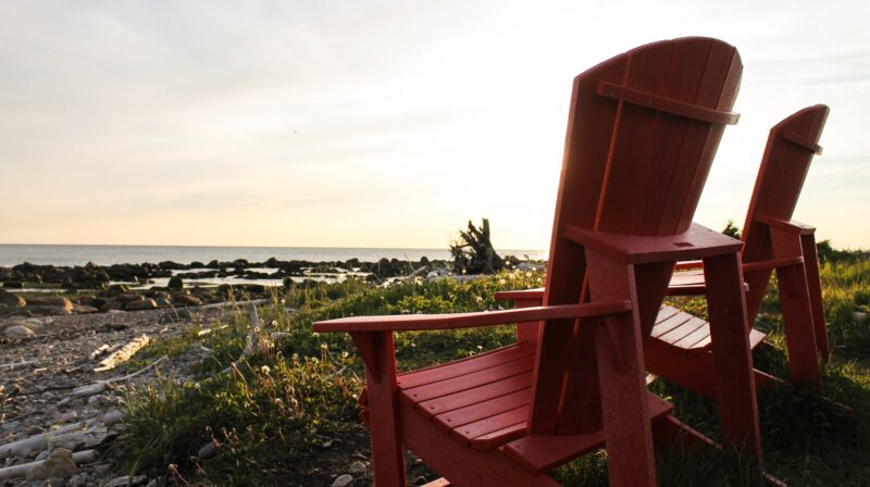 Red Chairs on the coastal trail